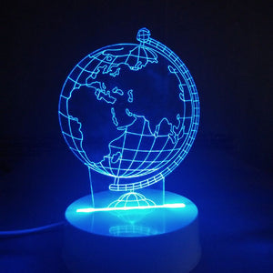 Coupcou.com: 3D Optical Illusion Sculpture Lights In 7 Colors 3D Remote Earth Shape Globe World Map Table Lamp