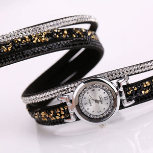 Coupcou.com: DUOYA D098 Women's Watch Silver Dial Rhinestone Luxury Dress Women Watch