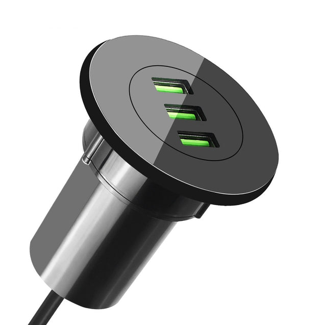 Coupcou.com: 3 Port USB Desktop Hole Charger Hub Grommet with Station and Power Cable