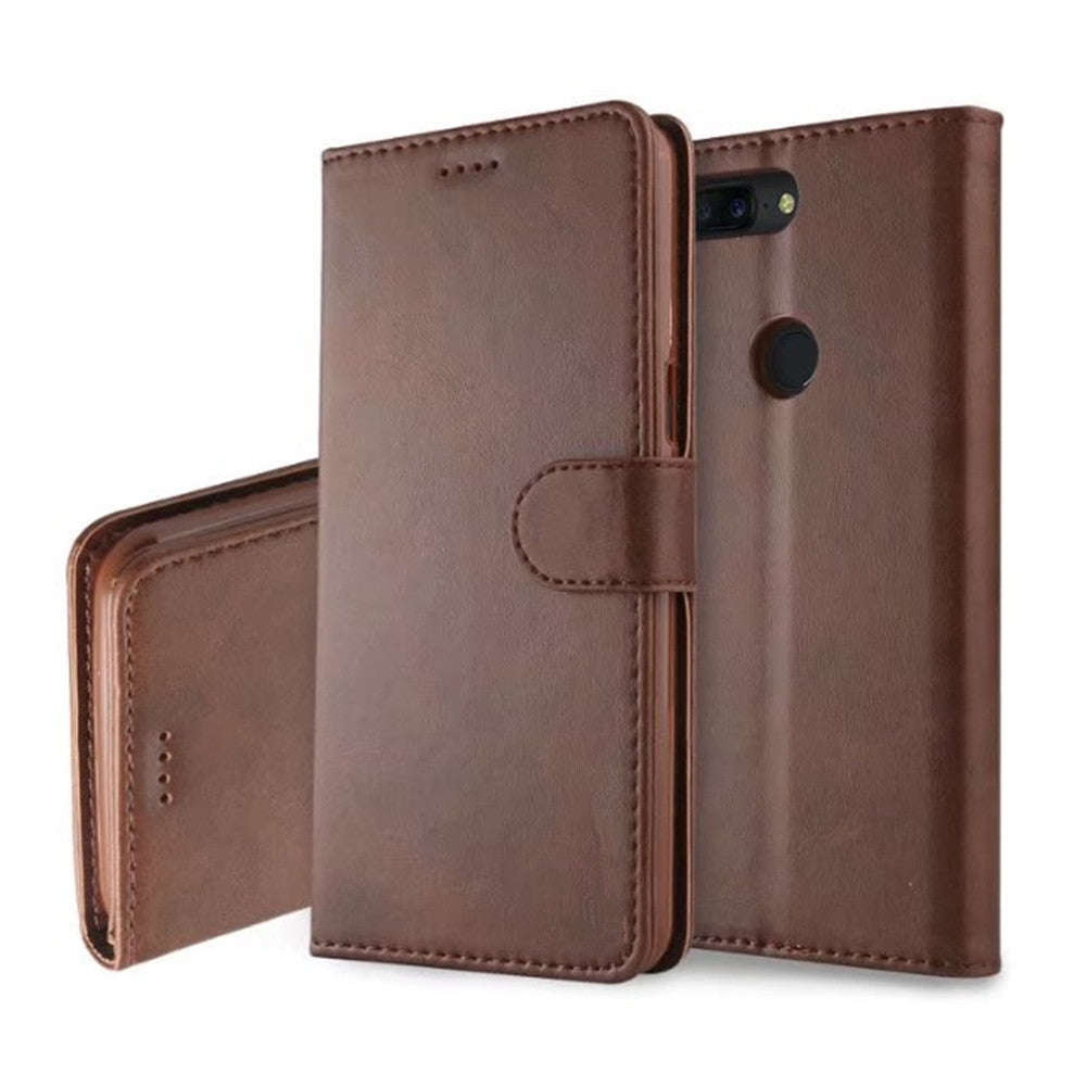 Cover Case for One Plus 5T  Mobile Phone Accessories  Flip Synthetic PU LeatherBROWN