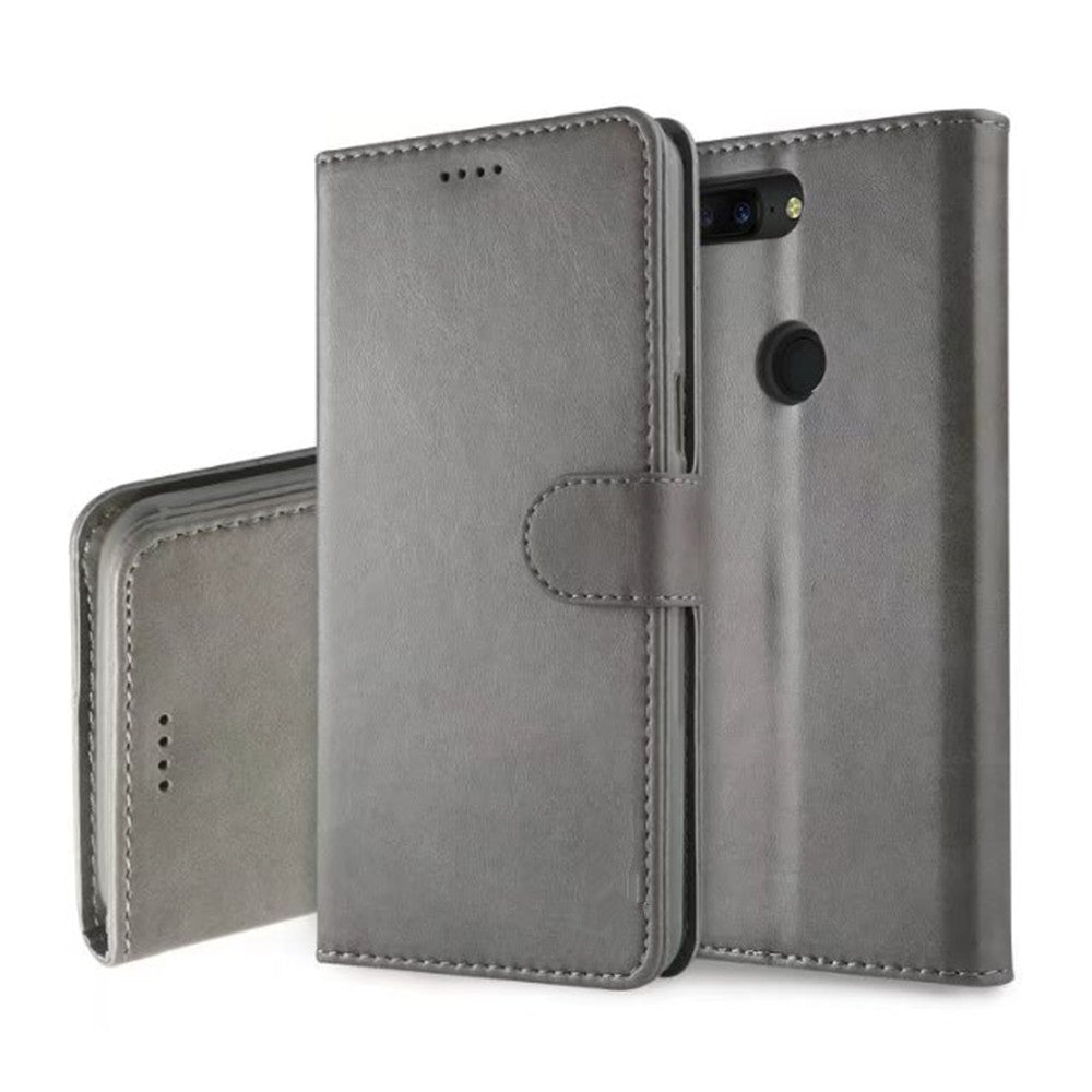 Cover Case for One Plus 5T  Mobile Phone Accessories  Flip Synthetic PU LeatherGRAY