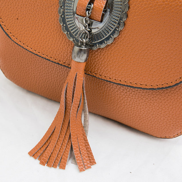 Coupcou.com: Flip Over Tassels Lychee Grain Lady Satchel Crossbody Bag