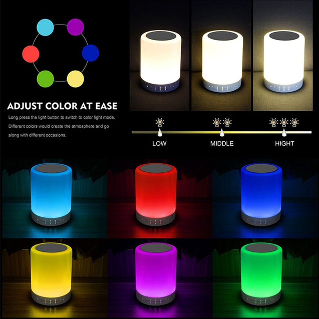 Coupcou.com: Wireless Bluetooth Speaker Stereo Sound Colorful Touch LED Light Lamp Music Player LED Lamp Bluetooth Speaker with USB TF FM