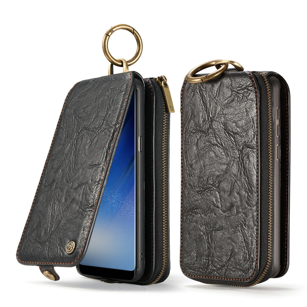 CaseMe for Samsung Galaxy S8 Plus Classic Retro Wallet Leather Case Strong Magnetic Closure Remo...BLACK