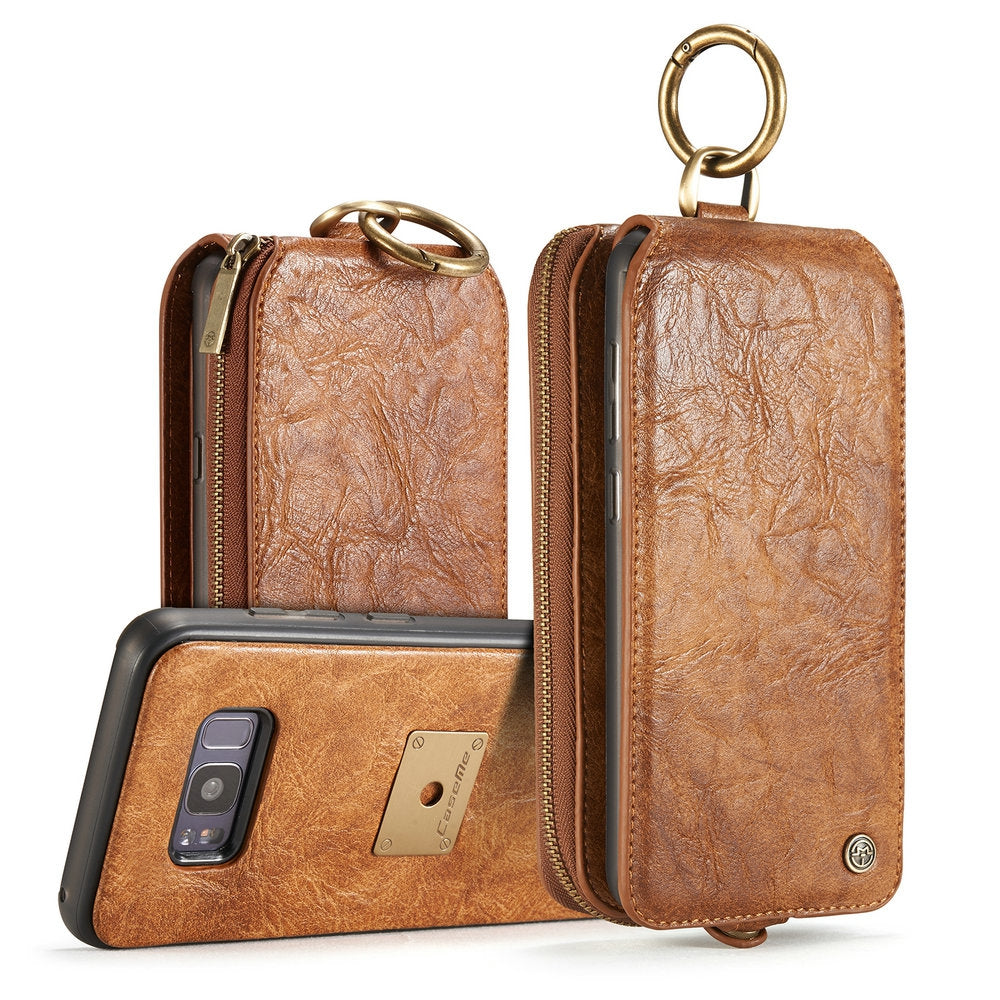 CaseMe for Samsung Galaxy S8 Plus Classic Retro Wallet Leather Case Strong Magnetic Closure Remo...BROWN