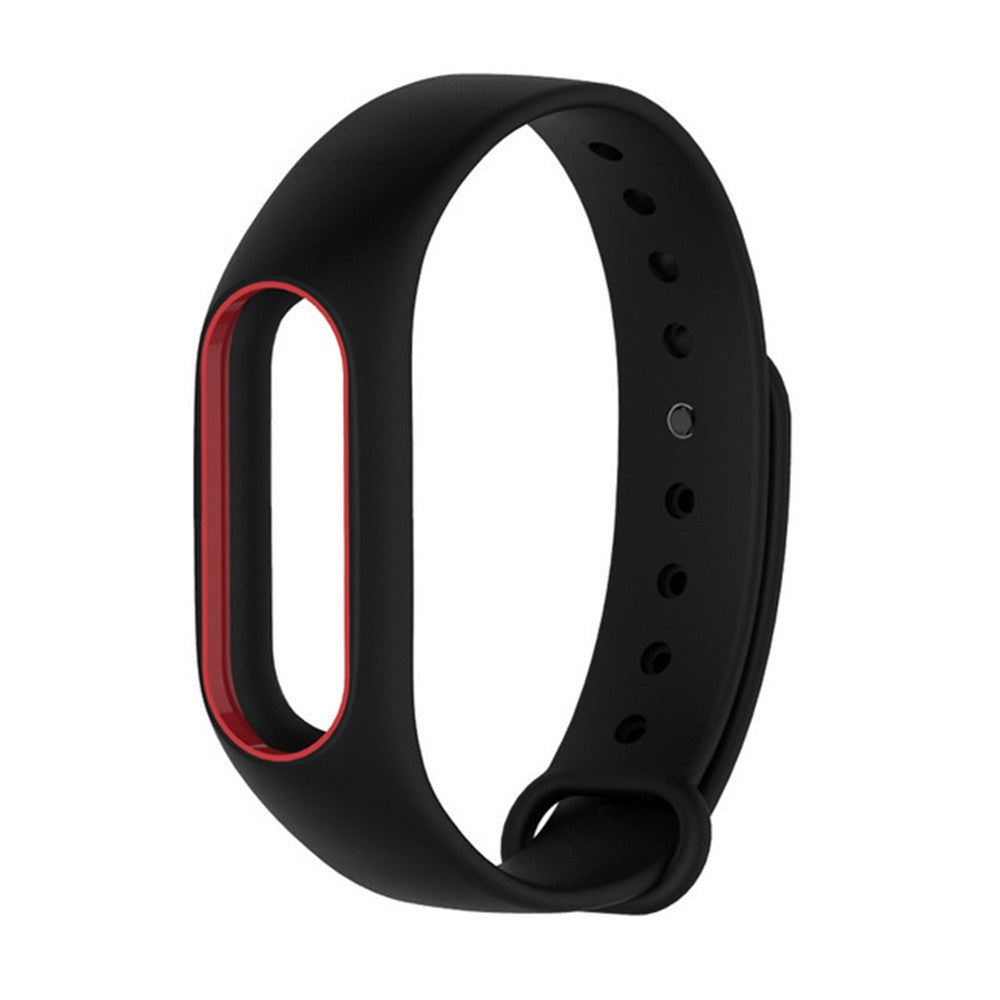 Colorful Silicone Wrist Strap Bracelet Double Color Replacement watchband for Miband 2 Xiaomi Mi...BLACK AND RED