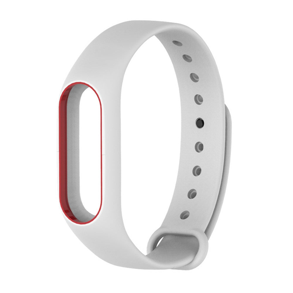 Colorful Silicone Wrist Strap Bracelet Double Color Replacement watchband for Miband 2 Xiaomi Mi...WHITE + RED