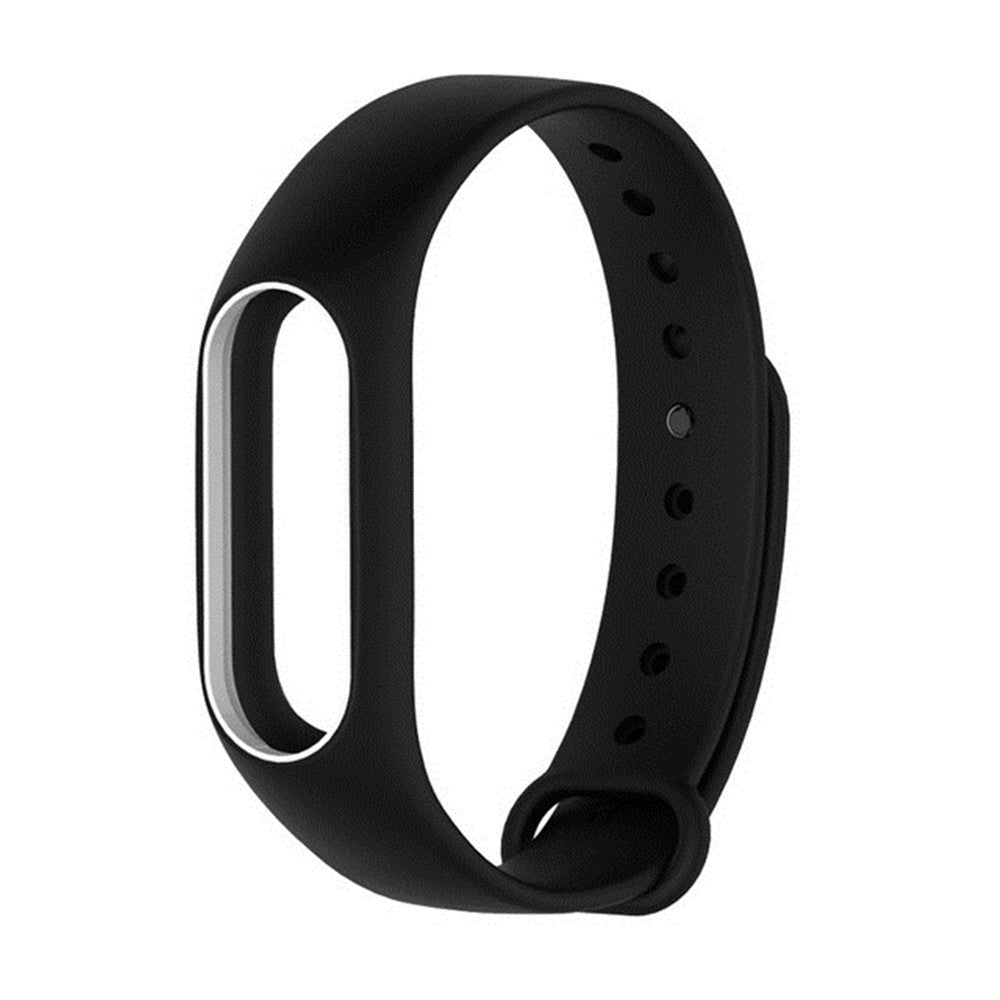 Colorful Silicone Wrist Strap Bracelet Double Color Replacement watchband for Miband 2 Xiaomi Mi...BLACK WHITE