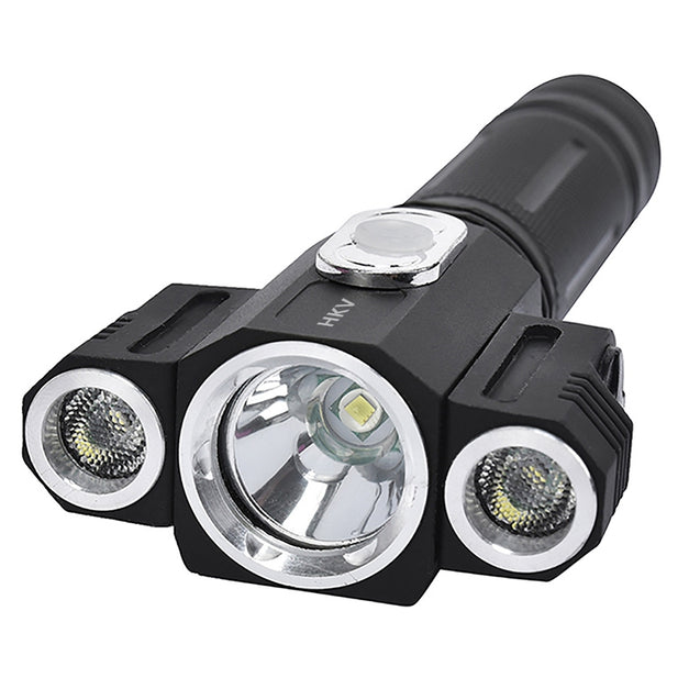 Coupcou.com: HKV LED Flashlight 180 Degree Adjustable Torch 3LEDS Cree Rotating Camping Hunting Light