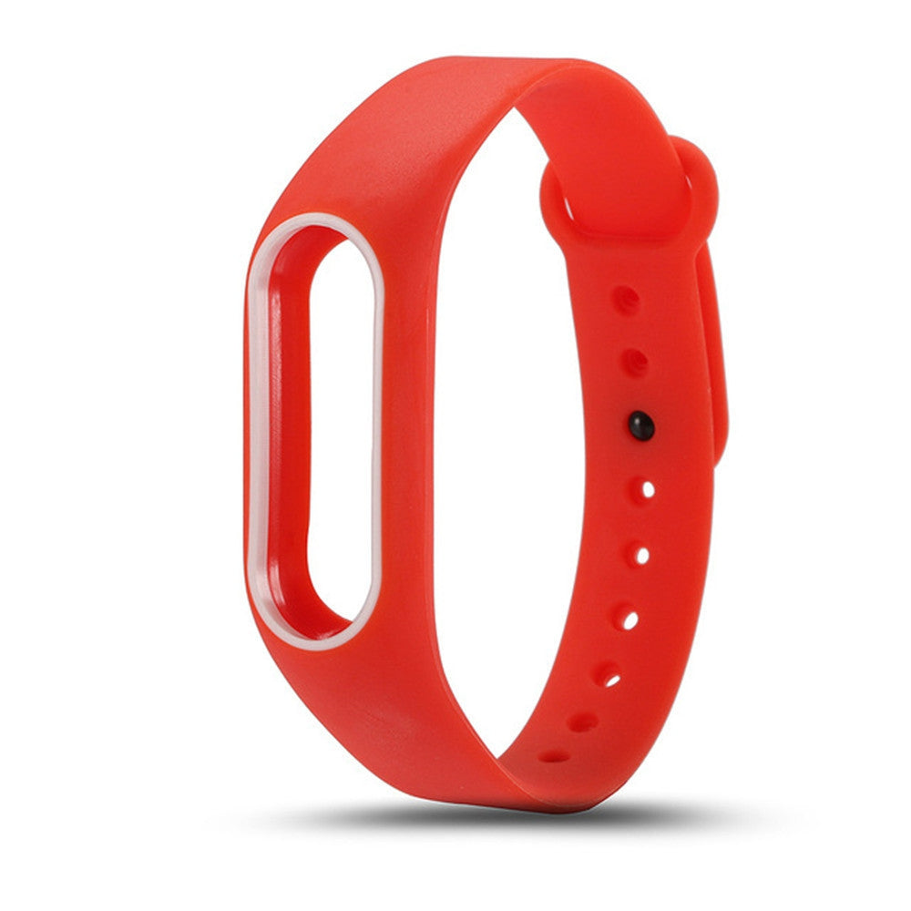 Colorful Silicone Wrist Strap Bracelet Double Color Replacement watchband for Miband 2 Xiaomi Mi...RED