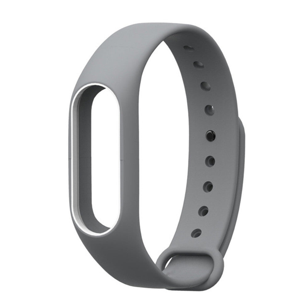 Colorful Silicone Wrist Strap Bracelet Double Color Replacement watchband for Miband 2 Xiaomi Mi...GREY AND WHITE