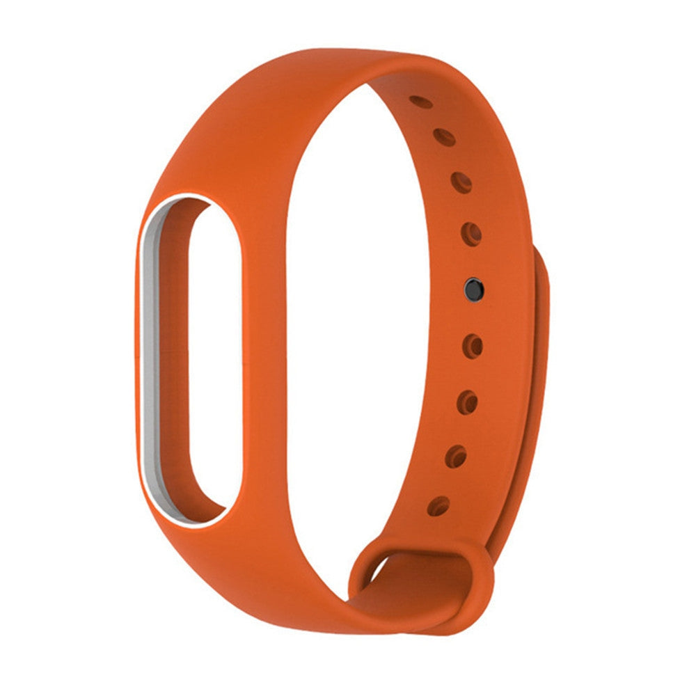 Colorful Silicone Wrist Strap Bracelet Double Color Replacement watchband for Miband 2 Xiaomi Mi...ORANGE+WHITE