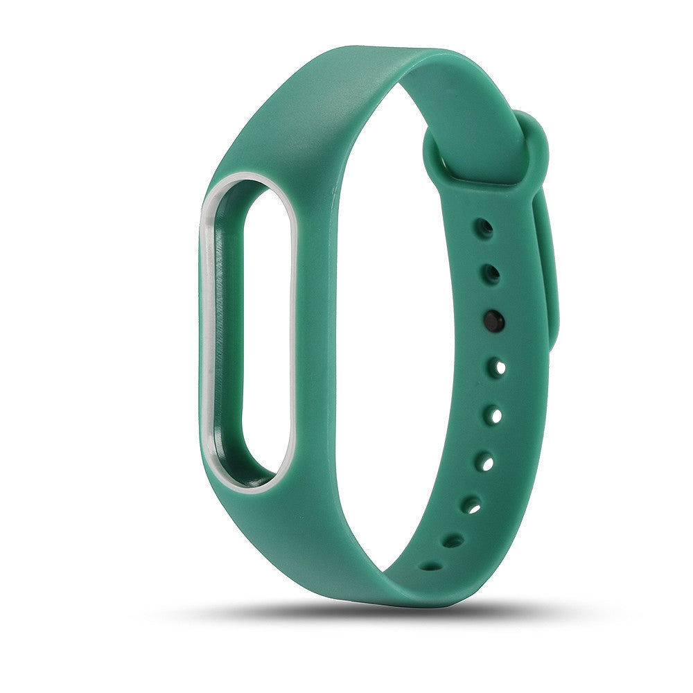 Colorful Silicone Wrist Strap Bracelet Double Color Replacement watchband for Miband 2 Xiaomi Mi...GREEN + WHITE