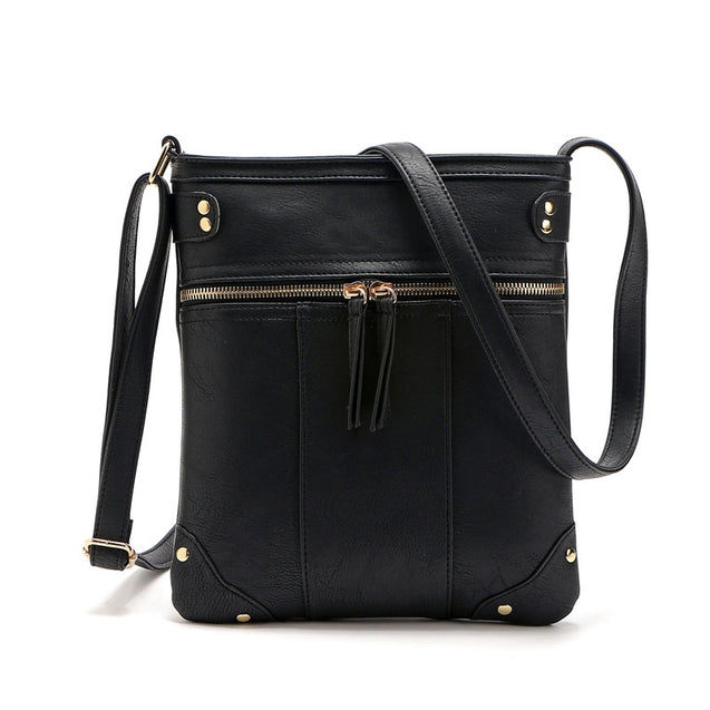Coupcou.com: Solid Color Zipper Rivets Crossbody Bag