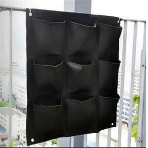 Coupcou.com: Large 9 Pockets Hanging Flower Pot Polyester Wall-Mounted Vertical Gardening Flower Pot Planting Bag Living Indoor Wall