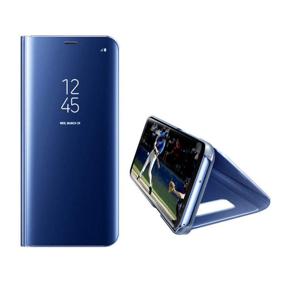 Case for Samsung Galaxy S8 Plus Luxury Clear View Smart Flip Leather Phone CoverBLUE