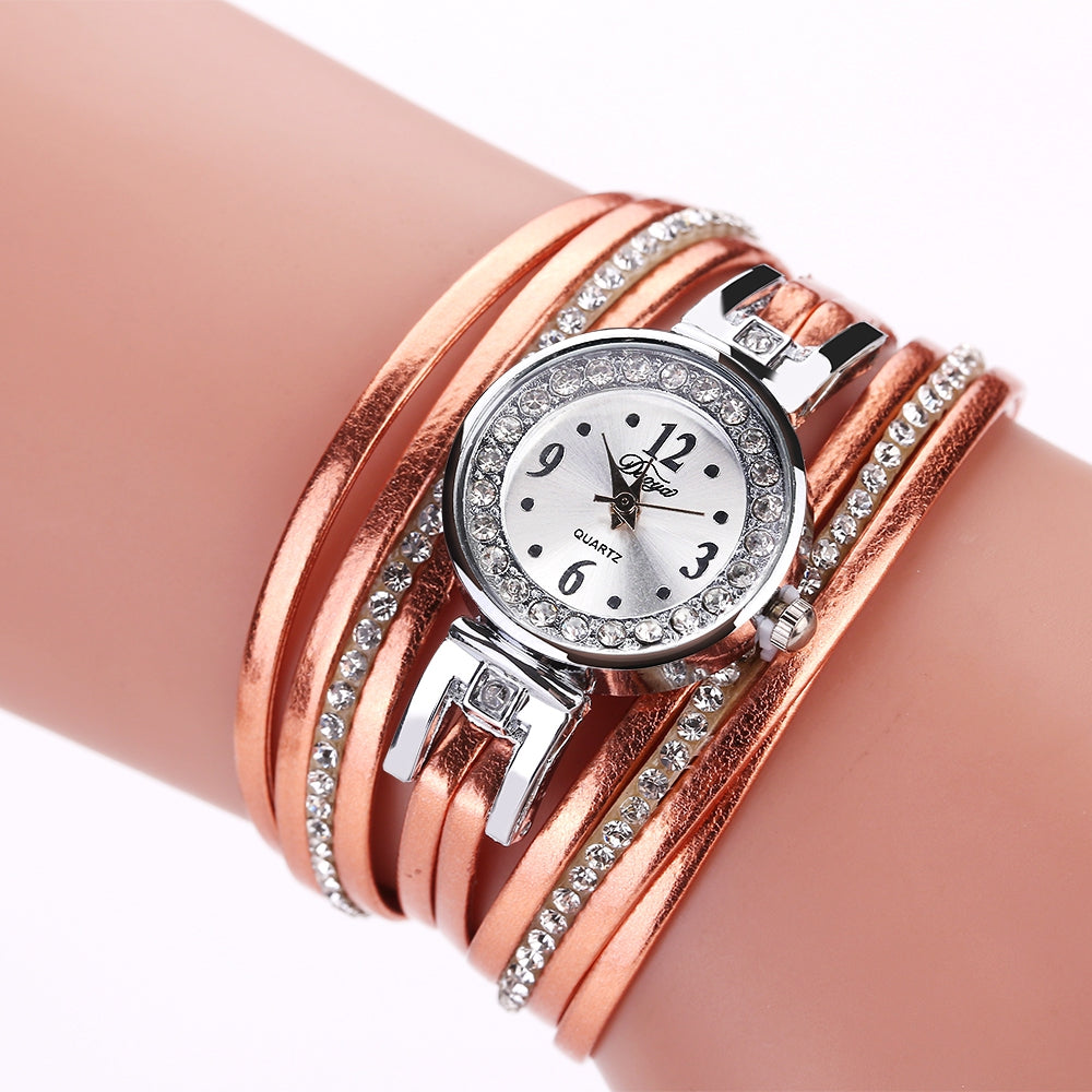 DUOYA D174 Ladies Fashion Analog Quartz PU Leather Diamond Watch
