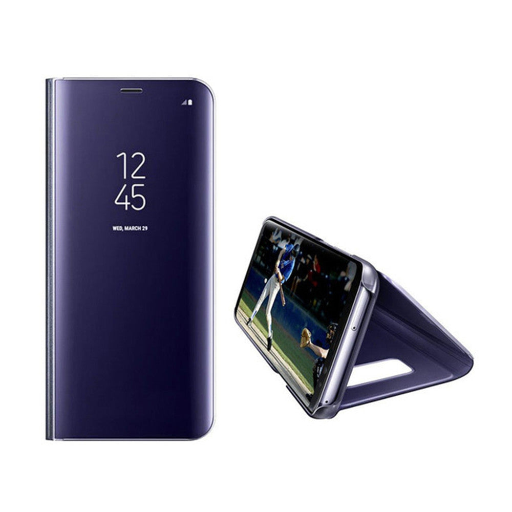 Case for Samsung Galaxy S8 Plus Luxury Clear View Smart Flip Leather Phone CoverDEEP BLUE