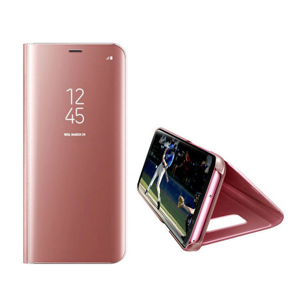 Case for Samsung Galaxy S8 Plus Luxury Clear View Smart Flip Leather Phone CoverROSE GOLD