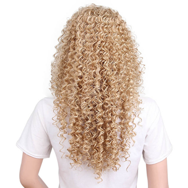 Coupcou.com: Afro Kinky Curly Long Hair Synthetic Light Blonde Wig for African American Women