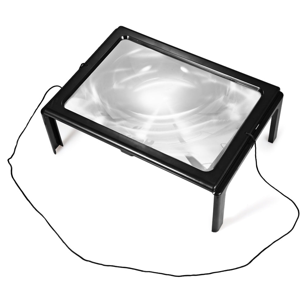 4 LED Lights Foldable Desk A4 Full Page Large Reading Hands Free 3X Magnifier for ReadingBLACK
