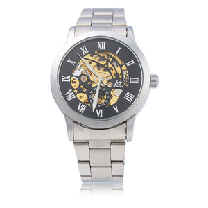 Coupcou.com: SHENHUA CGX 06 Male Automatic Mechanical Watch Hollow-out Dial Stainless Steel Band Wristwatch