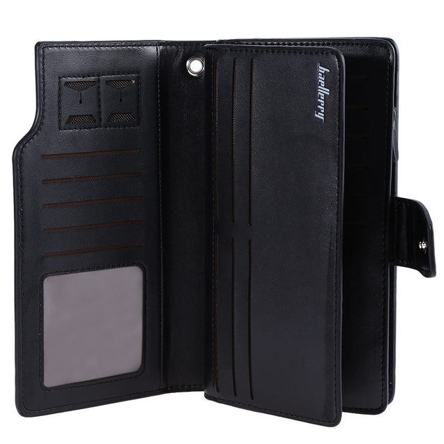 Coupcou.com: Baellerry Three-folded Male Long Wallet Leather Multifunctional Credit Card Purse