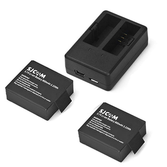 Coupcou.com: Original SJCAM 900mAh Battery + Dual Slot Charger for SJ4000 / SJ4000 WiFi / SJ5000 / SJ5000 WiFi / SJ5000 Plus / M10 / M10 WiFi / M10 Plus Action Camera