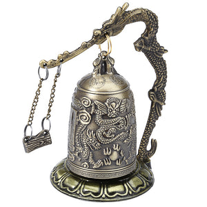 Coupcou.com: Zinc Alloy Vintage Style Bronze Lock Dragon Carved Buddhist Bell Chinese Geomantic Artware Exquisite Home Decor
