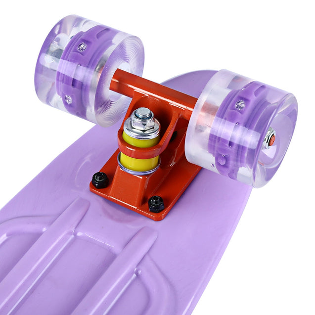 Coupcou.com: 22 Inches Mini Cruiser Banana Style Longboard Pastel Color Board with LED Flashing Wheels