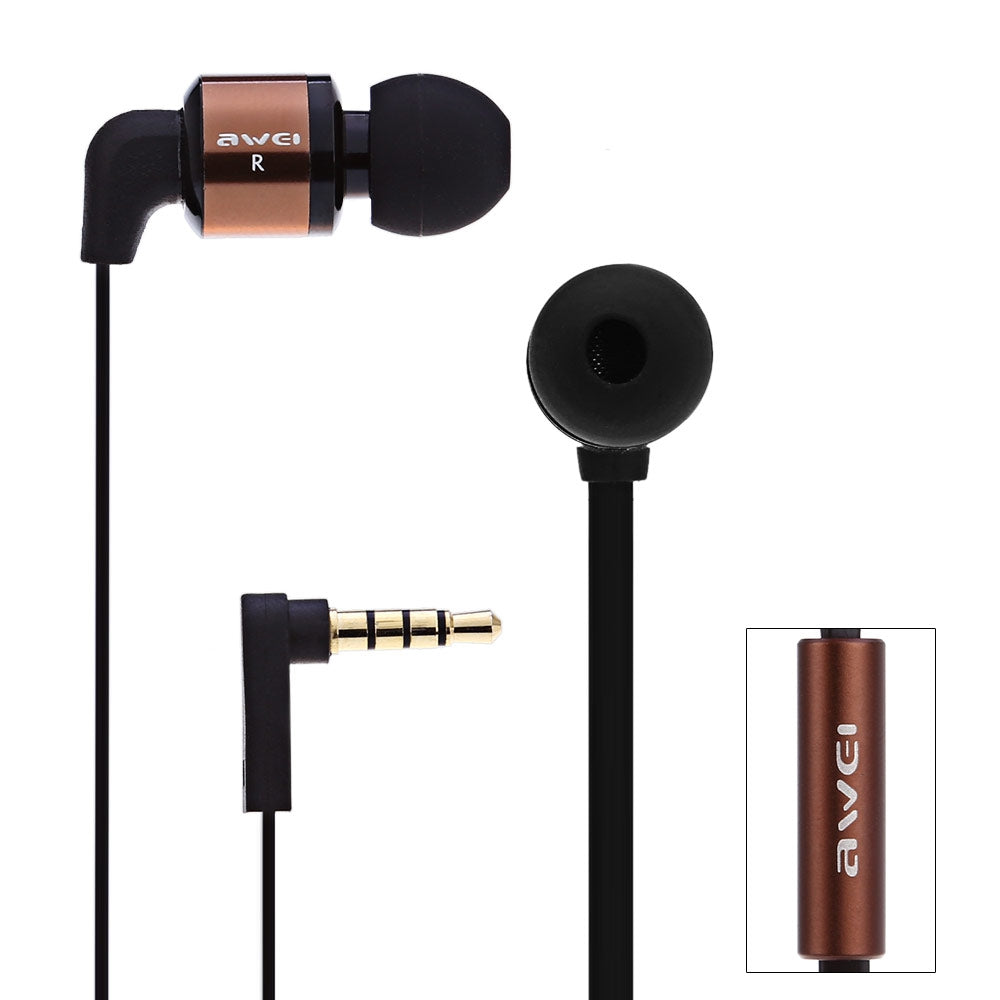 Awei ES600i 1.2m Cable Length In-ear Earphone with Mic for Mobile Phone Tablet PCCOFFEE