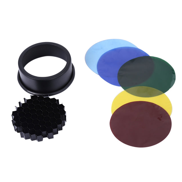 Coupcou.com: Universal Extender Conical Honeycomb Grid Speedlight Flash Snoot with 5pcs Color Filter