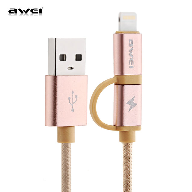 Coupcou.com: Awei CL - 930 2 in 1 1M Multifunctional 8 Pin Micro USB Interface Sync Charging Data 2.1A Cable