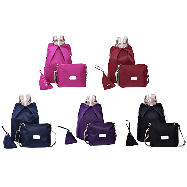 Coupcou.com: Women 3pcs Solid Color Handbag Tote Portable Backpack Shoulder Messenger Bag Wrist Wallet Coin Purse
