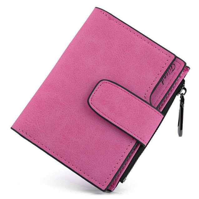 Coupcou.com: Guapabien Lady Solid Color Letter Snap Fastener Zipper Short Clutch Wallet
