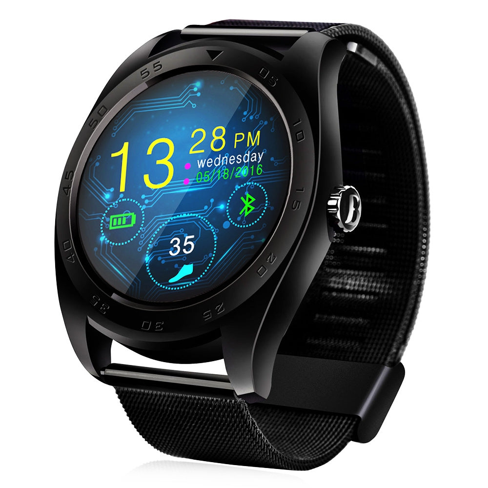 CACGO K89 Bluetooth 4.0 Heart Rate Monitor Smart Watch with Three-axis Accelerometer LoudspeakerBLACK / STEEL BAND