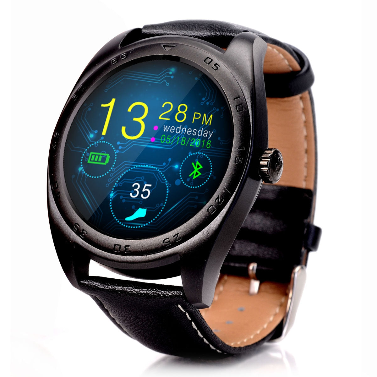 CACGO K89 Bluetooth 4.0 Heart Rate Monitor Smart Watch with Three-axis Accelerometer LoudspeakerBLACK / LEATHER BAND