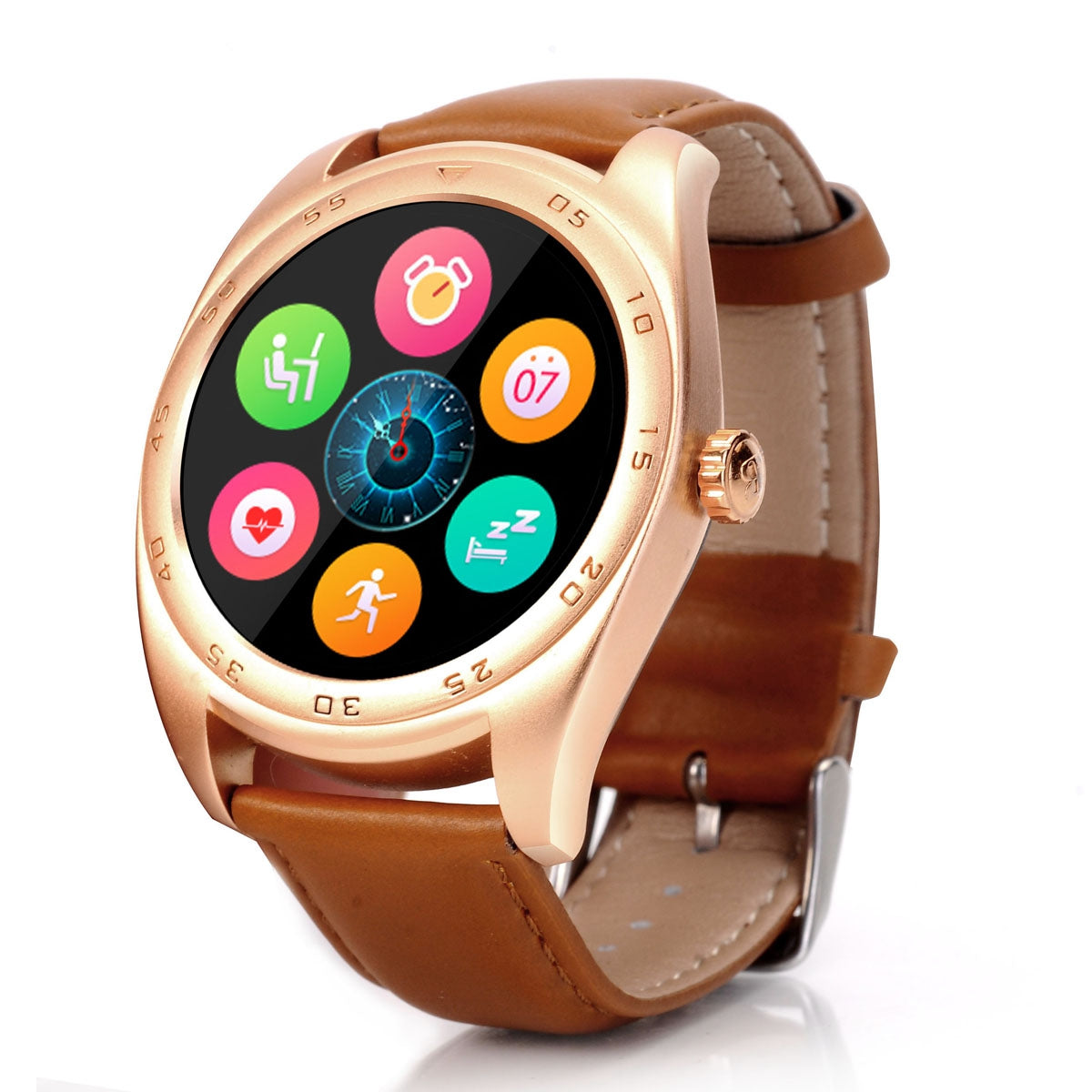 CACGO K89 Bluetooth 4.0 Heart Rate Monitor Smart Watch with Three-axis Accelerometer LoudspeakerGOLDEN / LEATHER BAND