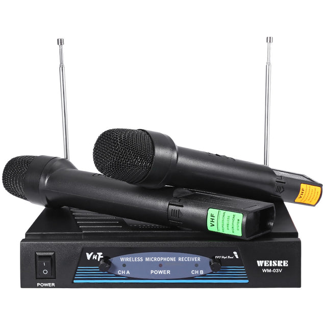 Coupcou.com: WEISRE WM - 03V Professional 210 - 280MHz VHF Wireless Handheld Dual Channel Transmitter Mic Set