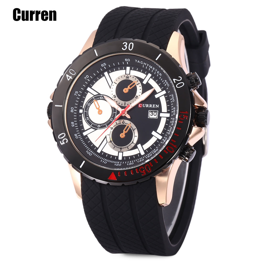 Curren 8143 Male Quartz Watch Calendar 3ATM Luminous Wristwatch for MenBLACK AND GOLDEN