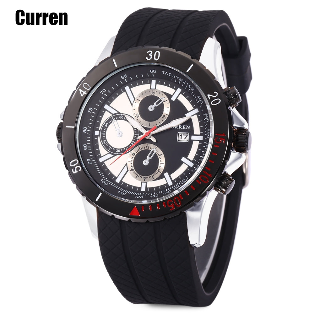 Curren 8143 Male Quartz Watch Calendar 3ATM Luminous Wristwatch for MenSILVER AND BLACK