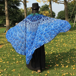 Coupcou.com: Feather Printed Chiffon Peacock Tail Cape