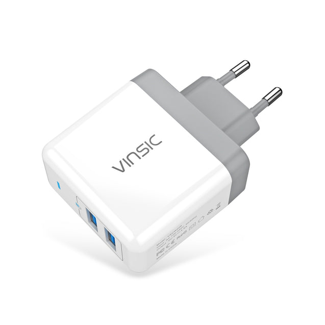 Coupcou.com: VINSIC VSCW208 5V 4.8A ( Max ) 24W Wall Travel Charger Dual USB Output Adapter