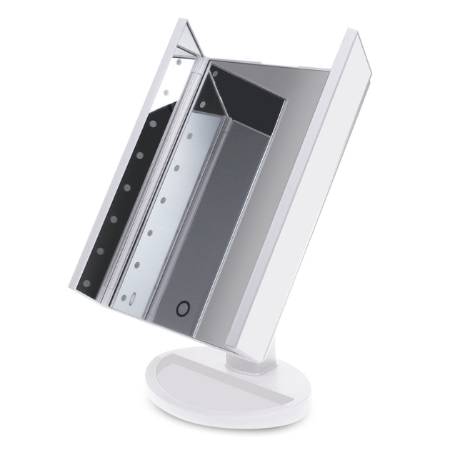 Coupcou.com: LED Professional Three Sides Folding Portable Desktop Makeup Mirror