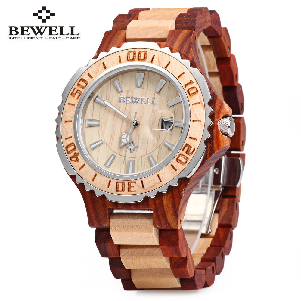 BEWELL ZS-100BG Metal Case Wood Men Quartz Watch with Metal Case 30M Water ResistanceRED SANDALWOOD AND MAPLE WOOD