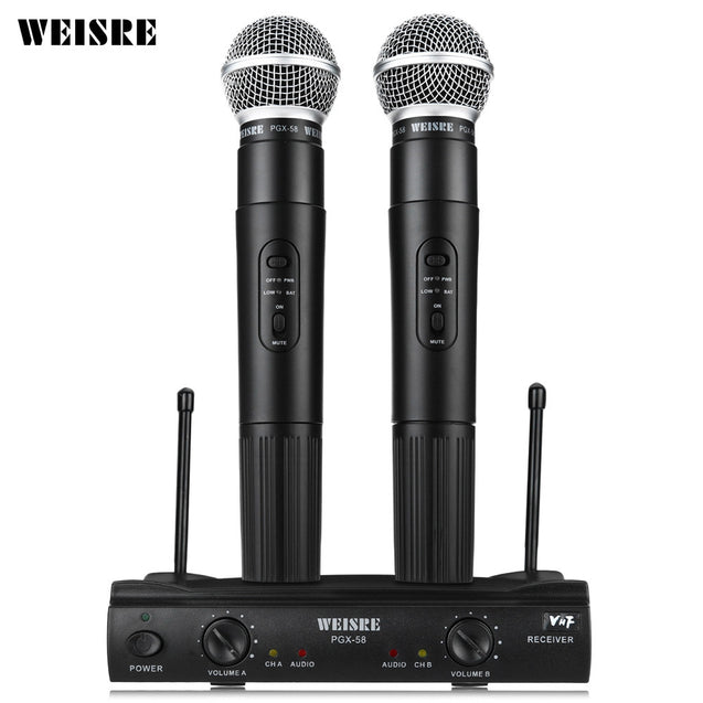 Coupcou.com: WEISRE PGX58 VHF Dual Wireless Microphone Mic System for Karaoke Party KTV etc.
