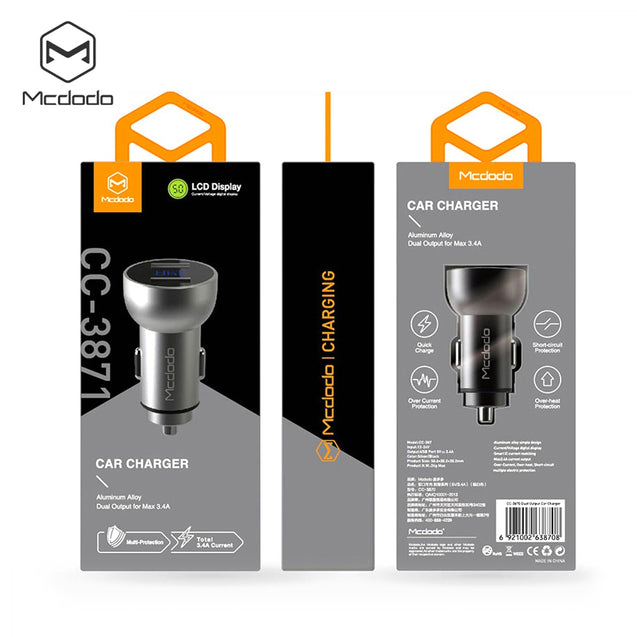 Coupcou.com: MCDODO CC - 387 Car Charger 3.4A Dual USB LCD Display