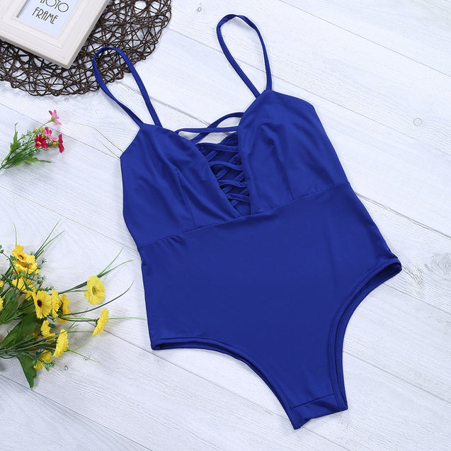 Coupcou.com: Sexy Spaghetti Strap Hollow Out Lace-up Backless Swimsuit for Women