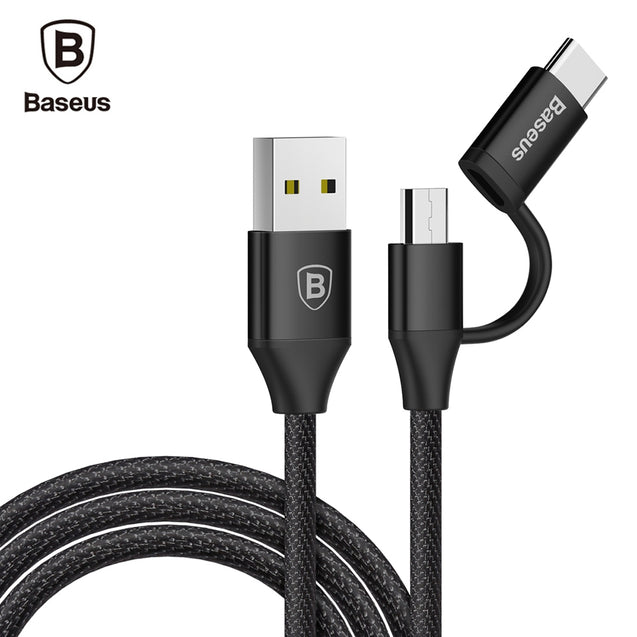 Coupcou.com: Baseus Yiven 2A Type-C Adapter Micro USB Data Cable 1M
