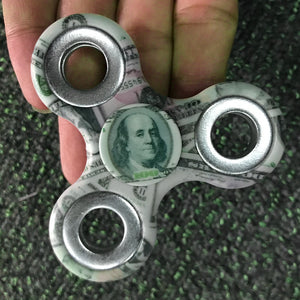 Coupcou.com: Money Print Finger Gyro Three Holes Fidget Spinner